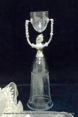 Brautbecher Sissi Kristall mundgeblasen Handgravur 27 cm